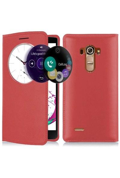 Microsonic Lg G4 Beat (Lg G4s) Kılıf Circle View Slim Kapaklı Akıllı Kırmızı