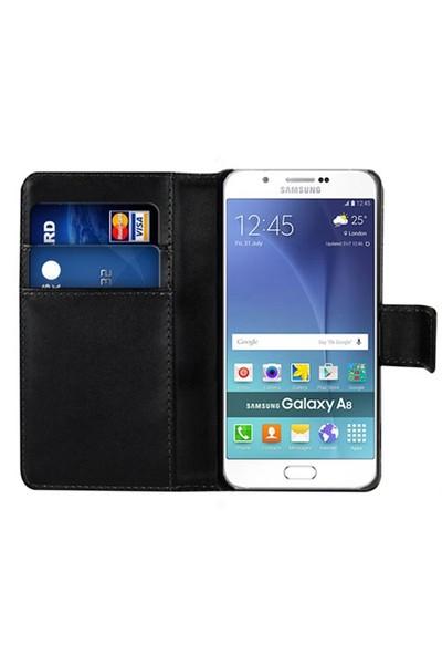 Microsonic Samsung Galaxy A8 Kılıf Cüzdanlı Deri Siyah