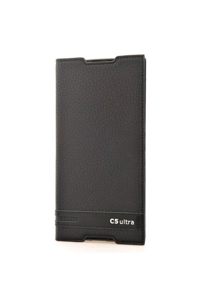 CoverZone Sony Xperia C5 Deri Kılıf Safir Kapaklı Siyah