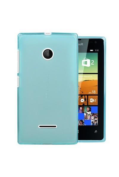 Microsonic Microsoft Lumia 532 Kılıf Transparent Soft Mavi