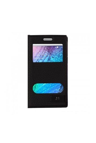 Lopard Samsung Galaxy J1 Kılıf Kapaklı Pencereli Ellite Case Deri Siyah