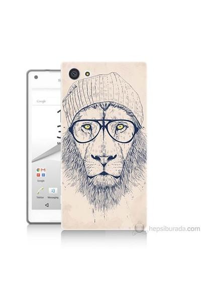 Teknomeg Sony Xperia Z5 Kılıf Kapak Gözlüklü Aslan Baskılı Silikon