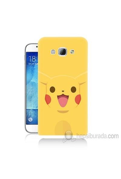 Teknomeg Samsung Galaxy A8 Kapak Kılıf Pokemon Pikachu Baskılı Silikon