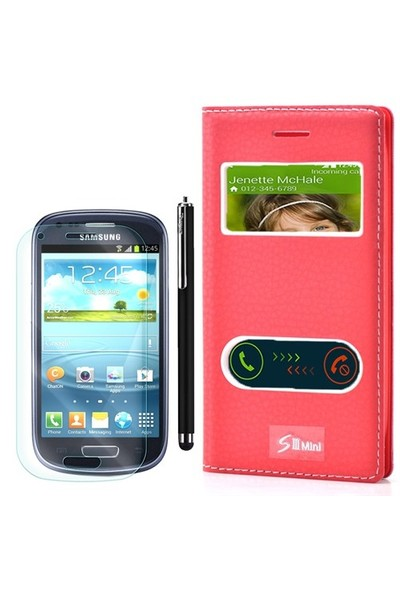 Gpack Samsung Galaxy S3 Mini Kılıf Pencereli Dolce +Kalem+Cam