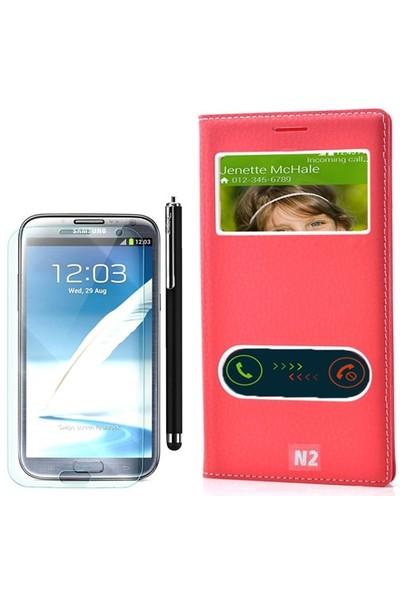 Gpack Samsung Galaxy Note 2 Kılıf Pencereli Dolce +Kalem+Cam
