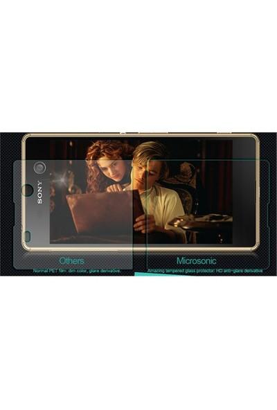 Microsonic Sony Xperia M5 Temperli Cam Ekran Koruyucu Ön + Arka