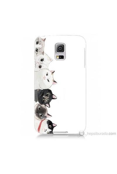 Teknomeg Samsung Galaxy S5 Mini Kapak Kılıf Kediler Baskılı Silikon