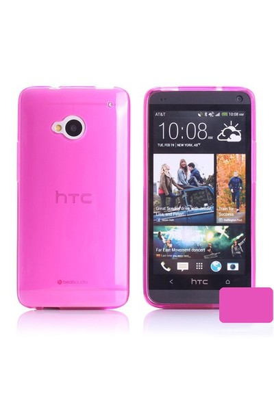 Microsonic Transparent Soft Htc One M7 Kılıf Pembe