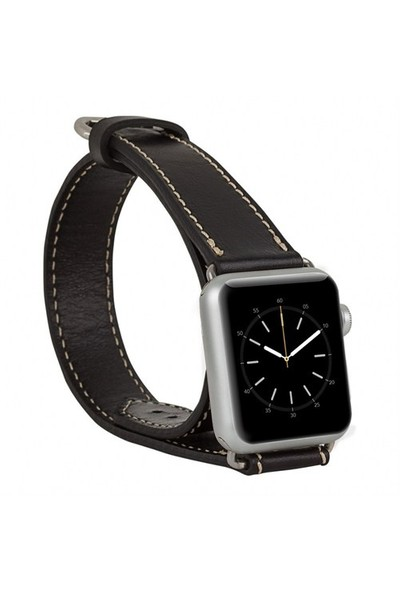 Burkley Apple Watch Çift Tur Rustic Black Gerçek Deri Kordon (38 Mm)