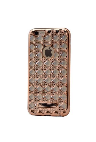 Lopard İphone 6 Plus Kılıf Sarmaşık Taşlı Silikon Arka Kapak Gold