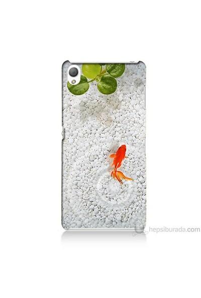 Teknomeg Sony Xperia Z3 Kapak Kılıf Kırmızı Balık Baskılı Silikon