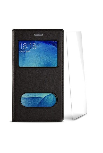 Volpawer Samsung Galaxy S6 Edge Pencereli Kılıf + Ekran Koruyucu Siyah