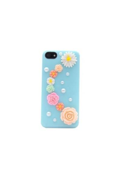 Duck Apple iPhone 5 - 3D Mine Çiçekleri - Lady-Line - Yeşil Kapak