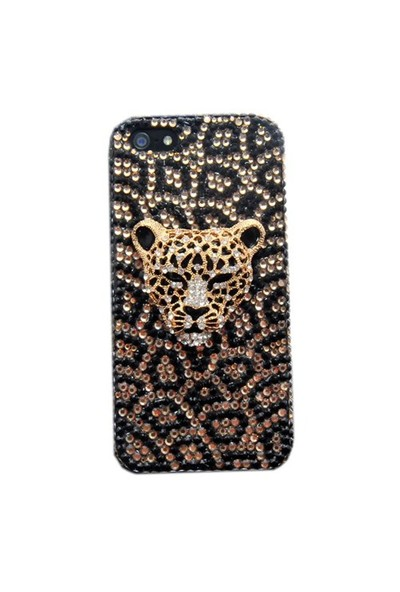Resonare Apple iPhone 5 - 3D Leopar Taşli - Sari Siyah Kapak