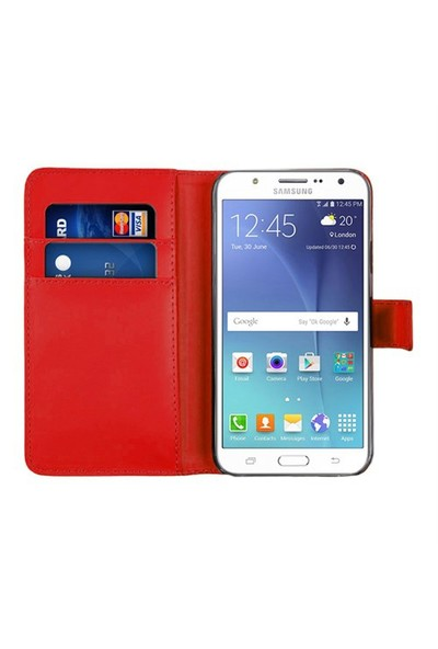 Microsonic Samsung Galaxy J7 Kılıf Cüzdanlı Deri Kırmızı