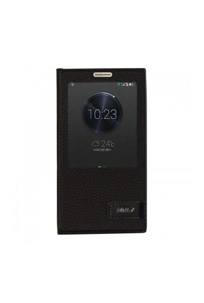 Lopard Huawei Mate 7 Kılıf Kapaklı Pencereli Ellite Case Deri Siyah