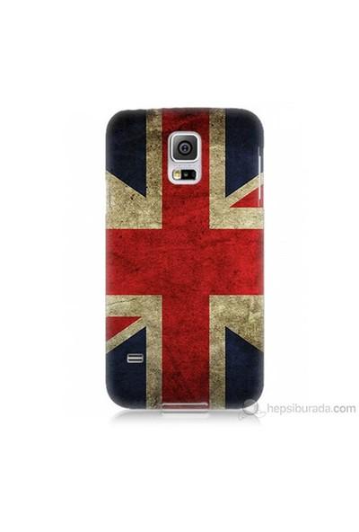 Teknomeg Samsung Galaxy S5 Mini Kapak Kılıf İngiltere Bayrağı Baskılı Silikon