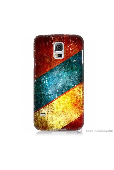 Teknomeg Samsung Galaxy S5 Mini Kapak Kılıf Renkli Metal Baskılı Silikon