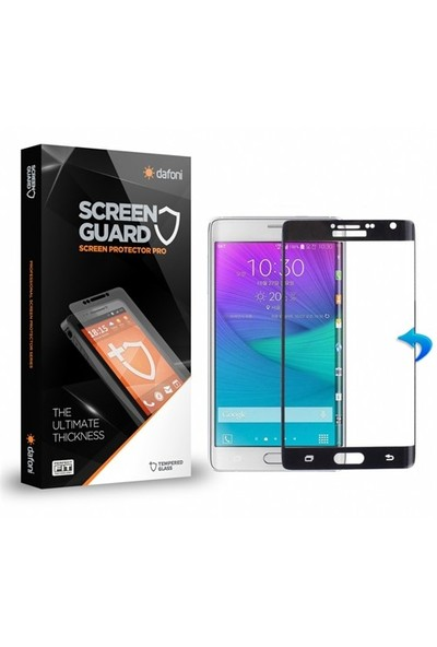 Dafoni Samsung Galaxy Note Edge Curve Tempered Glass Premium Siyah Cam Ekran Koruyucu
