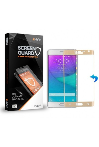 Dafoni Samsung Galaxy Note Edge Curve Tempered Glass Premium Gold Cam Ekran Koruyucu