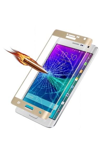 Dafoni Samsung Galaxy Note Edge Curve Tempered Glass Premium Gold Cam Ekran Koruyucu
