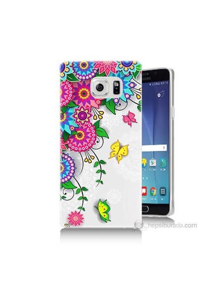 Teknomeg Samsung Galaxy Note 5 Kapak Kılıf Çiçek Ve Kelebek Baskılı Silikon