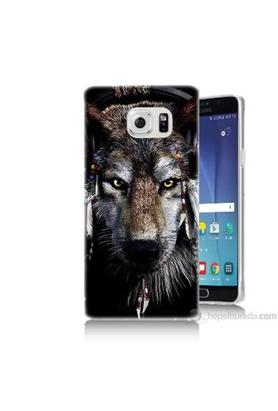 Teknomeg Samsung Galaxy Note 5 Kapak Kılıf Kızıldereli Kurt Baskılı Silikon