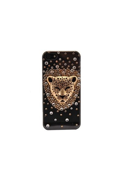 Resonare Apple iPhone 5 3D Leopar Metalik Taşli Şeffaf Gri Kapak