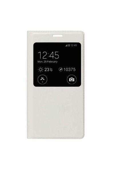Case 4U Meizu MX4 Pro Pencereli Flip Cover Kılıf Beyaz**