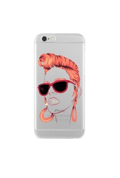 Remeto Samsung Galaxy E7 Kızıl Rock'n Roll Kızı Transparan Silikon Resimli Kılıf