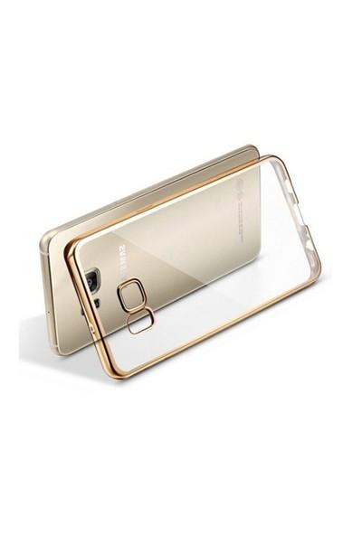 Ebox Samsung Galaxy S7 Kenarları Altın Varaklı Şeffaf İnce Silikon Arka Kapak - EBX-2687