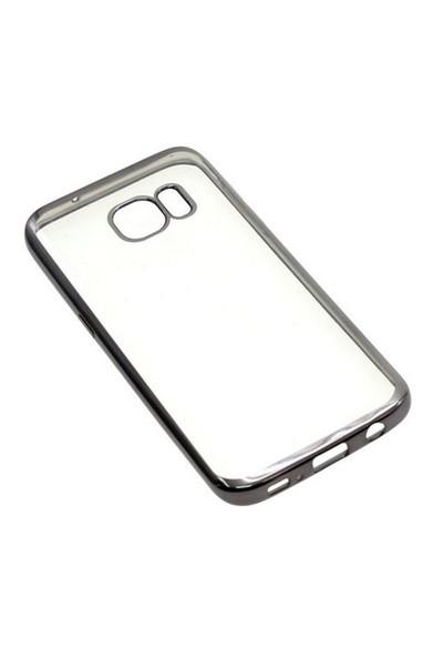 Ebox Samsung Galaxy S7 Kenarları Gümüş Varaklı Şeffaf İnce Silikon Arka Kapak - EBX-2694