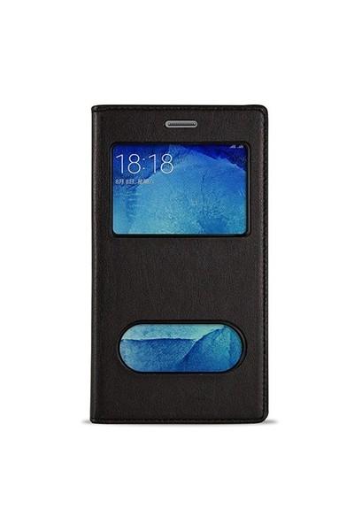 Volpawer Samsung Galaxy S6 Edge Gizli Mıknatıslı Pencereli Kılıf Siyah