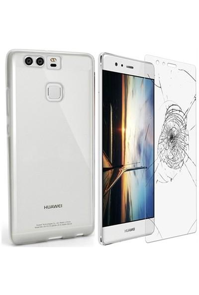 Kılıfshop Huawei P9 Silikon Kılıf (Şeffaf) + Ekran Koruyucu