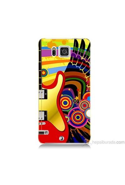 Teknomeg Samsung Galaxy Alpha Kapak Kılıf Renkli Gitar Baskılı Silikon
