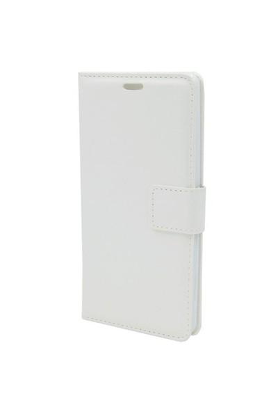 Kny Türktelekom Tt175 Cüzdanlı Kapaklı Kılıf Beyaz+Cam