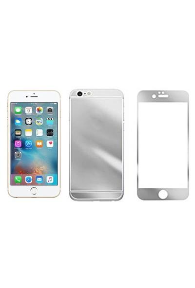 Microcase İphone 6 Plus-6S Plus Ön Arka Takım Gümüş Tempered Glass Cam Koruma