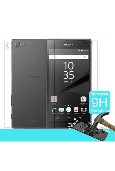 Microsonic Sony Xperia Z5 Compact (Z5 Mini) Temperli Cam Ekran Koruyucu Ön + Arka