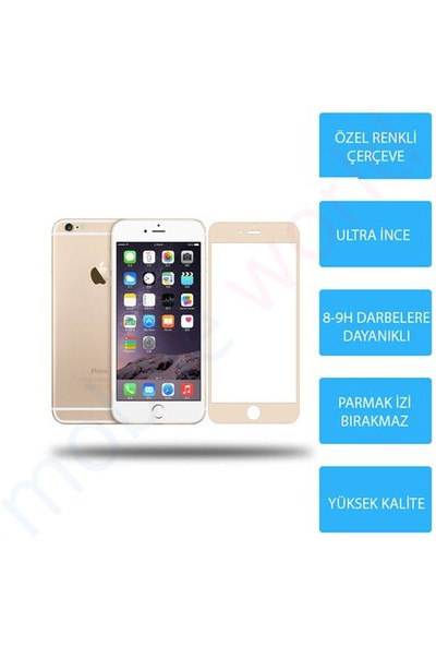Mobile World iPhone 6 Renkli Cam Ekran Koruyucu Gold - 2563