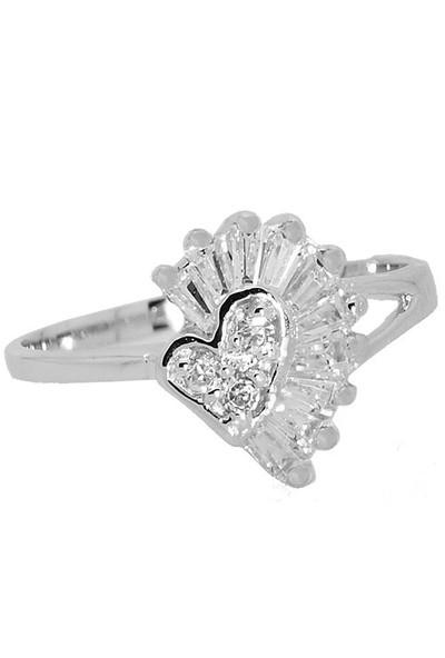 Chavin Baget Taşlı Kalp Gümüş Yüzük 9Ba621