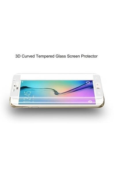 Dafoni Samsung Galaxy S6 Edge Plus Curve Tempered Glass Premium Beyaz Cam Ekran Koruyucu