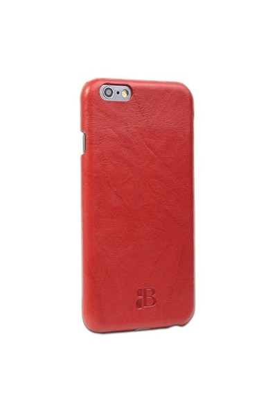 Burkley Apple İphone 6 Plus / 6S Plus Snap On Gerçek Deri Creased Red Rubber Kılıf