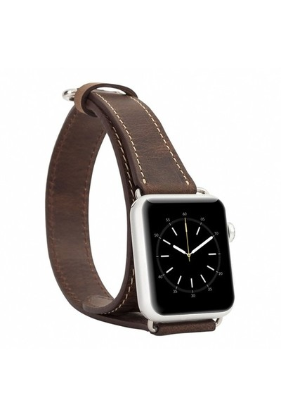 Burkley Apple Watch Çift Tur Antique Coffee Gerçek Deri Kordon (42 Mm)