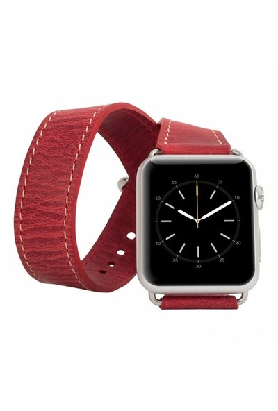 Burkley Apple Watch Çift Tur Antique Red Gerçek Deri Kordon (42 Mm)