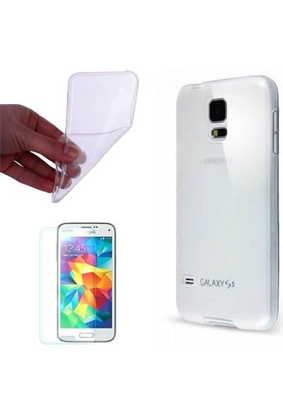 Gpack Samsung Galaxy S3 Mini Kılıf 0.2Mm Şeffaf Silikon + Cam