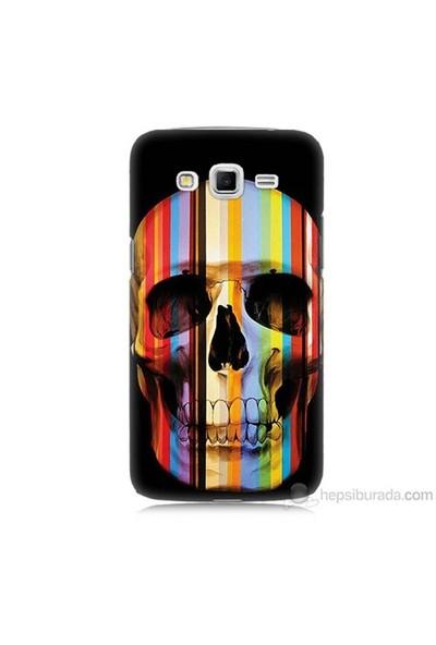 Teknomeg Samsung Galaxy Grand 2 Kapak Kılıf Renkli Kurukafa Baskılı Silikon