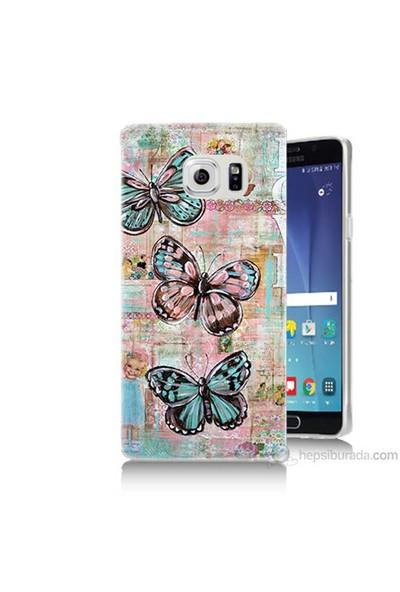 Teknomeg Samsung Galaxy Note 5 Kapak Kılıf Kelebek Love Baskılı Silikon