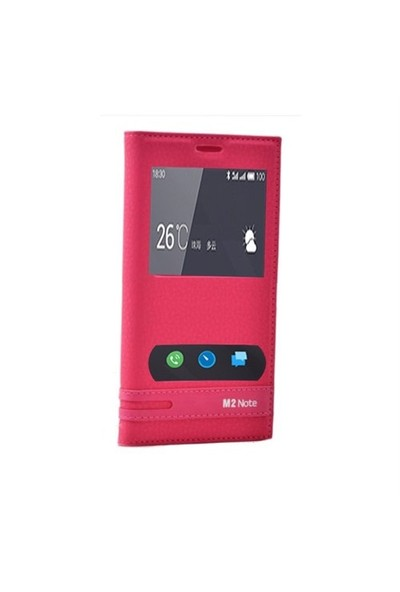 Teleplus Meizu M2 Note Mıknatıslı Çift Pencereli Kılıf Pembe