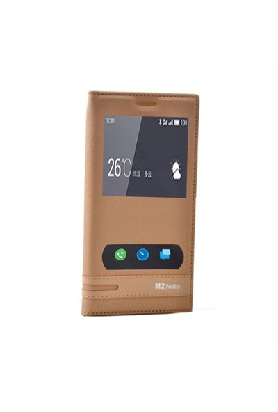 Teleplus Meizu M2 Note Mıknatıslı Çift Pencereli Kılıf Sarı