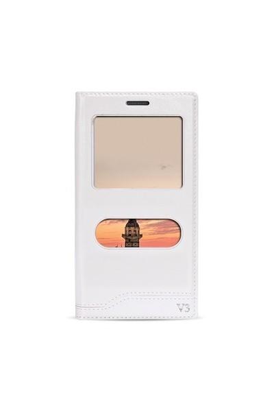 Fitcase Dolce Venüs V3 5040 Gizli Mıknatıslı Pencereli Kılıf Beyaz